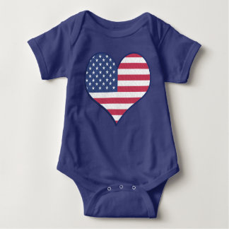 Patriotic USA Flag Heart Home of the Brave Baby Bodysuit