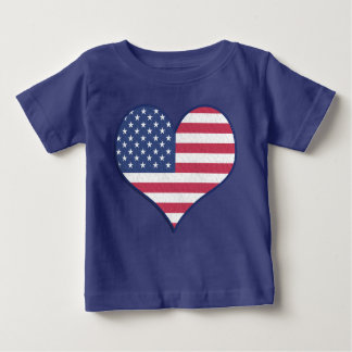 Patriotic USA Flag Heart Home of the Brave Baby T-Shirt