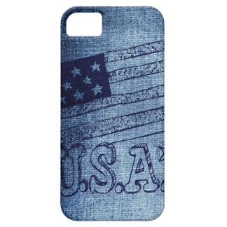 Patriotic USA Flag in Denim Blue iPhone 5 Cases
