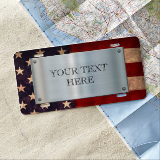 Patriotic USA Flag License Plate