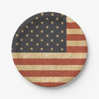 Patriotic USA Flag Paper Plate 7 Inch Paper Plate