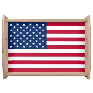 Patriotic USA Flag Service Trays