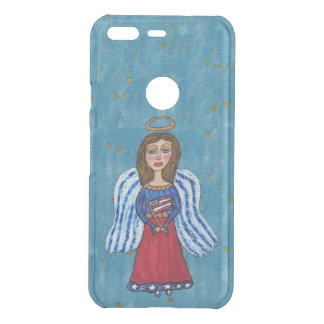 Patriotic USA Folk Art Angel Gold Stars Flag Uncommon Google Pixel Case