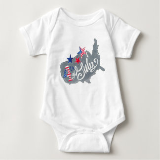Patriotic USA Map 4th Of July Independence Day Baby Bodysuit