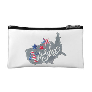 Patriotic USA Map 4th Of July Independence Day Makeup Bag