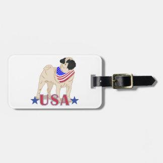 Patriotic USA Pug Luggage Tag