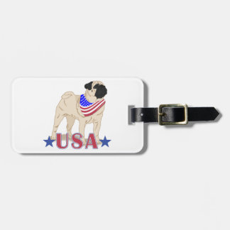 Patriotic USA Pug Tags For Bags