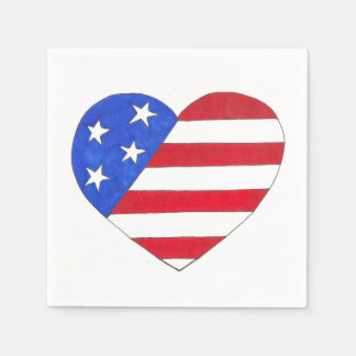 Patriotic USA Stars Stripes Heart American Flag Paper Napkin