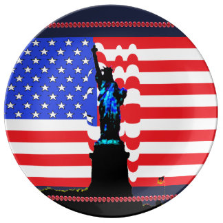 Patriotic USA Statue of Liberty Stars & Stripes Porcelain Plates