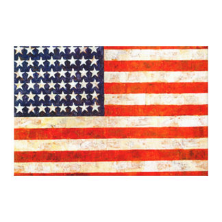 Patriotic Vintage American Flag Wall Canvas Art