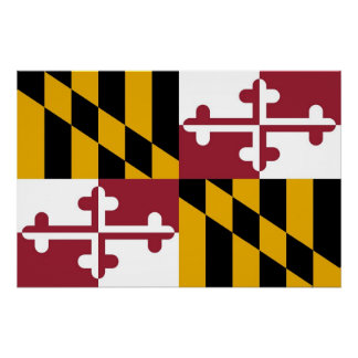 Patriotic wall poster with Flag of Maryland Perfect Poster