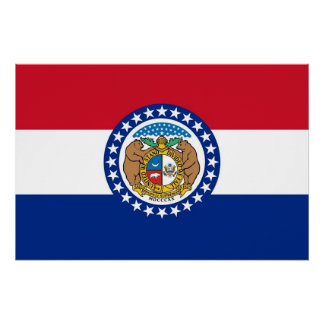 Patriotic wall poster with Flag of Missouri