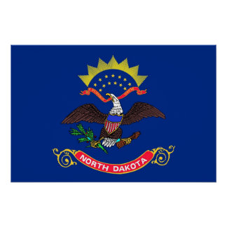 Patriotic wall poster with Flag of North Dakota Perfect Poster