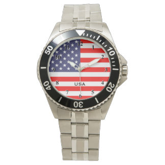 Patriotic watches with American flag dial plate