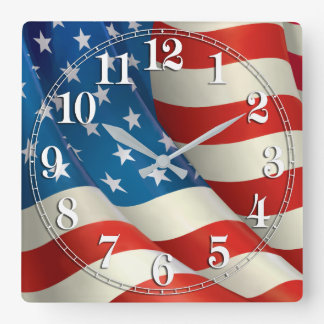 Patriotic Waving U.S. Flag Square Wall Clock