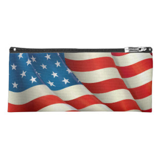 Patriotic Waving US Flag Red White and Blue Pencil Case