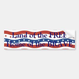 Patriotic Wavy Stars and Stripes Freedom Flag Car Bumper Sticker