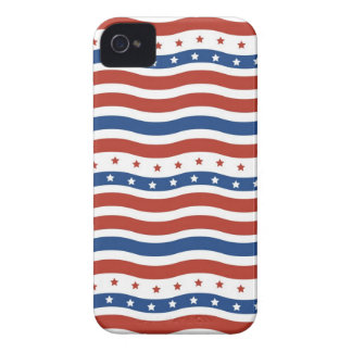 Patriotic Wavy Stars and Stripes Freedom Flag Case-Mate iPhone 4 Cases