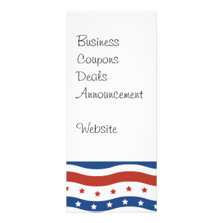 Patriotic Wavy Stars and Stripes Freedom Flag Rack Card