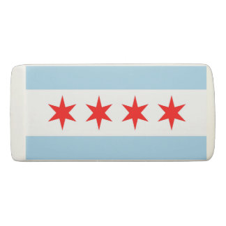 Patriotic Wedge Eraser with flag of Chicago