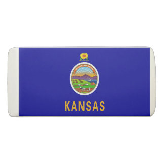 Patriotic Wedge Eraser with flag of Kansas