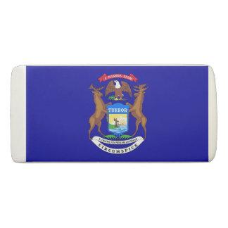 Patriotic Wedge Eraser with flag of Michigan