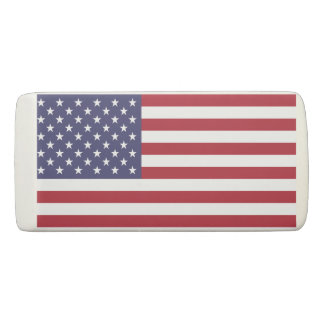 Patriotic Wedge Eraser with flag of USA.