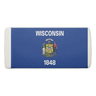 Patriotic Wedge Eraser with flag of Wisconsin