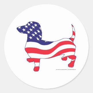 Patriotic-Weiner Classic Round Sticker