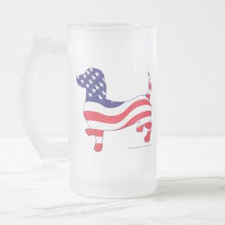 Patriotic-Weiner Frosted Glass Beer Mug