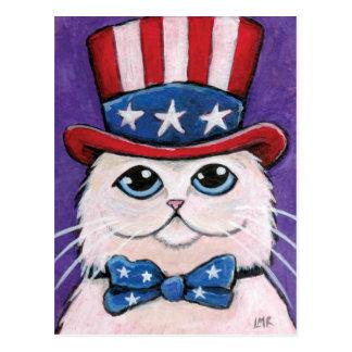 Patriotic White Persian Cat   4th of July Postcard