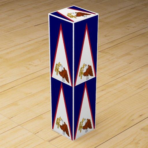 Patriotic wine gift box with American Samoa flag