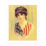 Patriotic Woman Illustration Postcard
