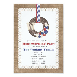 Patriotic Wreath Burlap Inspired Housewarming Card