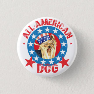Patriotic Yorkie 1 Inch Round Button