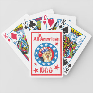 Patriotic Yorkie Bicycle Playing Cards