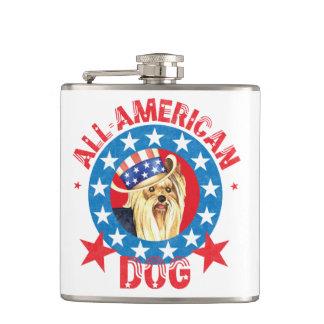 Patriotic Yorkie Hip Flask