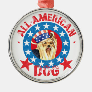 Patriotic Yorkie Metal Ornament