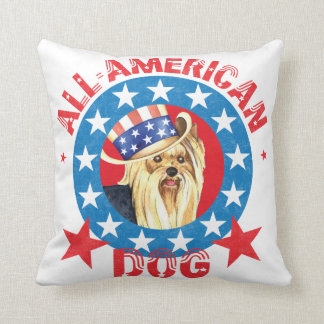 Patriotic Yorkie Throw Pillow
