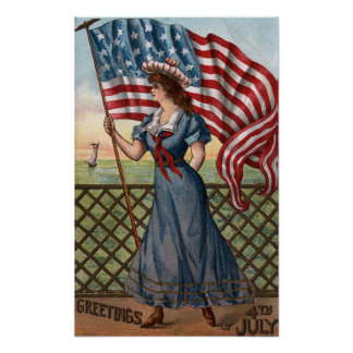Patriotically Dressed Woman Poster