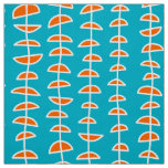 Pattern 080515 - White and Orange on Aqua Blue Fabric
