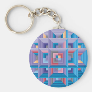 Pattern 4 basic round button keychain