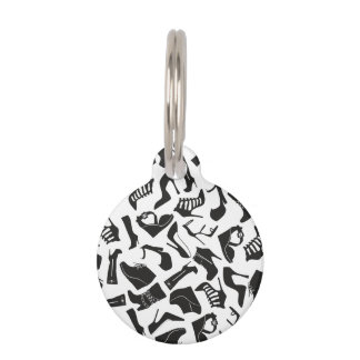 Pattern black Women's shoes Pet ID Tag