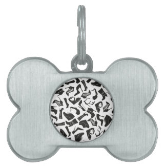 Pattern black Women's shoes Pet Name Tag