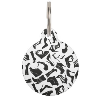 Pattern black Women's shoes Pet Tag