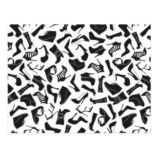 Pattern black Women's shoes Postcard