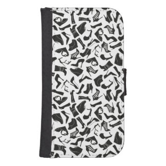 Pattern black Women's shoes Samsung S4 Wallet Case
