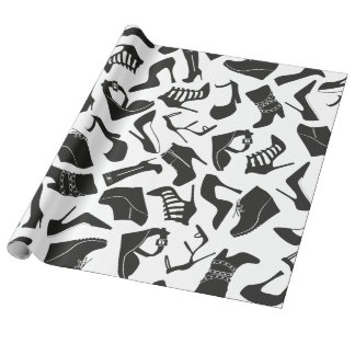 Pattern black Women's shoes Wrapping Paper