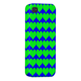 Pattern: Blue Background with Green Hearts iPhone 4 Cases