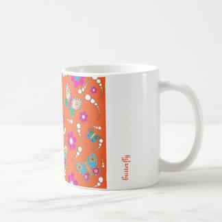 pattern butterfly orange coffee mugs